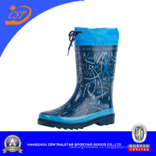Горячая мода синий резиновые сапоги дождя с воротником 66952