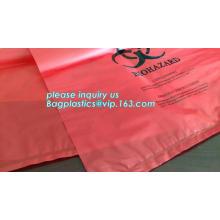 biodegradable biohazard eco bag, PE poly Biohazard Medical Waste Disposable Bag, Extra large capacity biohazard drawtape trash