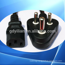 South Africa power plug pin type the tail/power cord