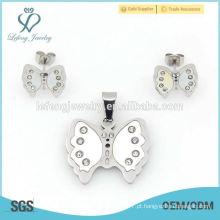 Jóia fina da forma da borboleta do aço inoxidável, prata lisa da memória ajusta acoplamentos preço de fábrica da porcelana