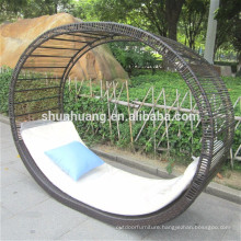 New style PE rattan sun bed double wicker lounge chaise