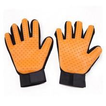 Heißer Verkauf fünf Finger Pet Badebürste Werkzeug gelb Silikon Grooming Handschuh, Pet Haarentferner Handschuh