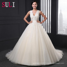 SL-007 Custom Made A-Line V-Neck Tulle Beaded Alibaba Wedding Dress 2016