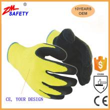 Warm acrylic winter liner yellow latex coated waterproof non slip winter work gloves/acrylic latex coating winter gloves