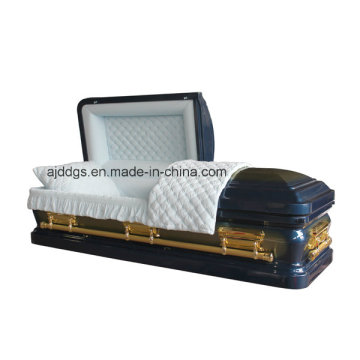 Blue Casket with Gold Brush