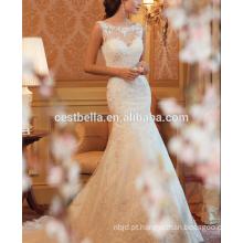 Vestido de casamento branco com vestido de noiva maxi de maxista Vestido de noiva de trem longo