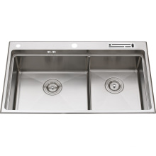S2201 Stainless Steel Double Bowl Handmade Sink Topmount