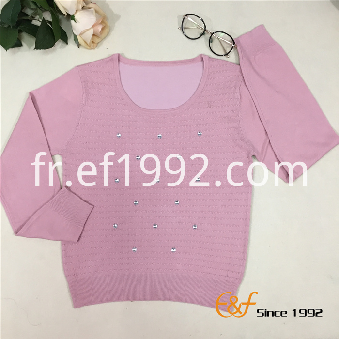 Cable-knit Graceful Women Sweater with Crystal Stone