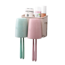 Bathroom non-perforated wheat straw toothbrush holder with toothpaste squeezer
