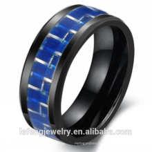 Top vente bijoux de style européen et américain, bague des amoureux, anneau en céramique de fibre de carbone bleu