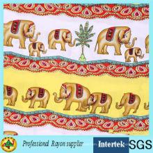 Tecido Rayon Impresso de Elefante de Fábrica