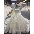 New Arrivals Luxury Long Sleeve Ball Gown Muslim White Dress Wedding