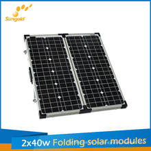Kit de paneles solares plegables 80W para camping, módulo solar