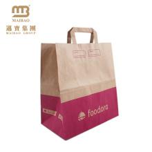 O fast food feito sob encomenda por atacado do mantimento da impressão do logotipo leva embora o saco de papel marrom Kraft com punhos lisos