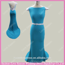RP0053 Cap sleeve deep V back white and blue embroider sweep train dress mermaid prom dresses real sample pictures prom dresses