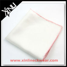 Colored Rolled Hem White Handkerchief