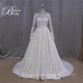 Длинный рукав французского кружева Микадо линии свадебное платье 2016