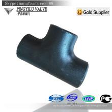 Conexão de tubulação de aço carbono solda sem costura sem costura tee igual para gás de óleo de água