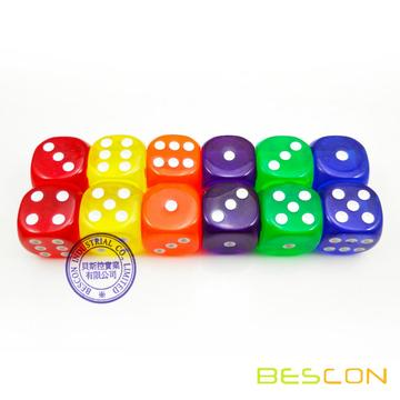 Colorful Transparent Plastic Dice 19MM, Transparent Counting Cubes