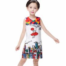 Mädchen Party Wear Western Baby Mädchen gedruckt Kleid Kinder Kleider Design One Piece Kinder Mädchen Kleid