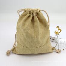 Custom Natural Plain Burlap Fabric Drawstring Bags Eco Friendly Small Jute Coffee Drawstring Bag
