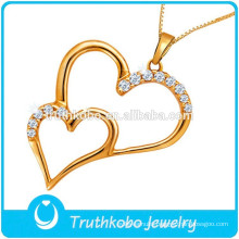 L-P0541 2015 Couple Breakable Heart Pendnt Jewelry Stainless Steel Floating Two Heart CZ Stone Pendant Trendy 2015 Necklace New