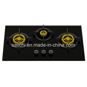 Supreme Three Brass Burner Gas Hob (8mm Glass)