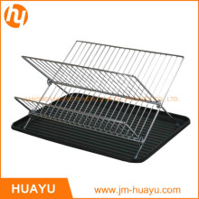 Chrome-Plated Steel Foldable X Shape 2-Tier Shelf Small Dish Drainers with Drainboard (Chrome)
