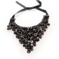 Black Lace Choker With Crystal Imitation Pearl Necklace