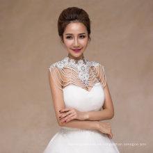 Crystal Pearl nupcial Chal Shawl accesorios de boda con Applique Lace