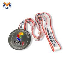 Médailles d'argent de trophée en métal de sport