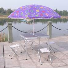 Pluggable umbrella advertising table