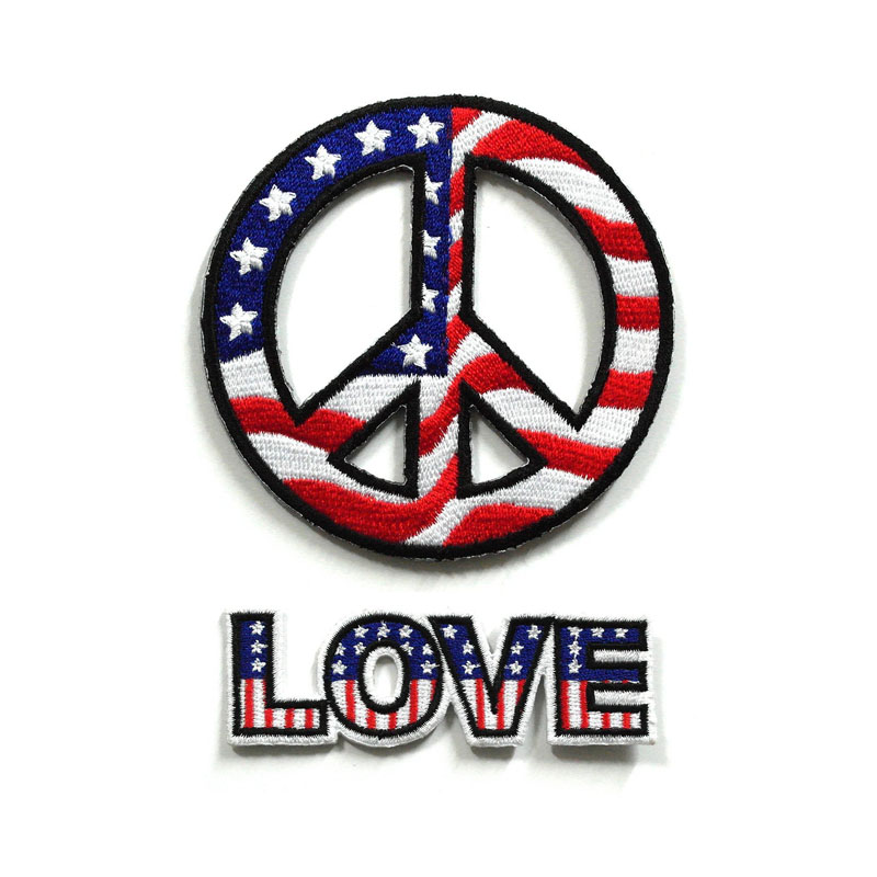 Usa Peace Sign Patches