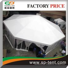 Grandes tentes octogonales en dôme octogonale avec des murs en PVC transparents et des revêtements intérieurs