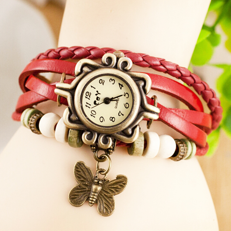 Popular Girls Classical Leather Band Wristwatches