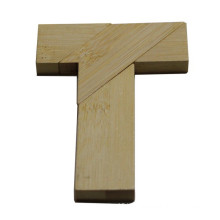Custom Bamboo English Puzzle Letter T for Children