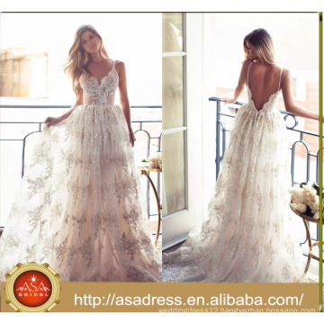 ASWY17 Sexy Lace Spaghetti Strap Bridal Gown Bohemian Wedding Bride Dress