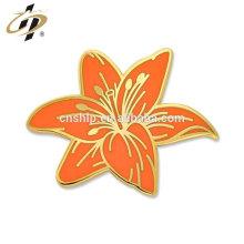 Bulk manufacturer china custom metal Tiger Lily Flower Pin