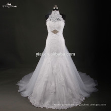 RSW748 Vestido De Noiva 2015 Halter Neckline Lace Dresses For Wedding With Removable Skirt And Free Veil