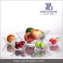 Ensemble de bol clair en verre carré pour fruits ou sauce