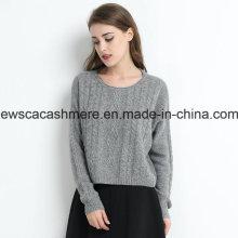 Suéter de cachemir puro de cuello redondo de color sólido de punto de las mujeres con hilado metálico