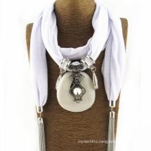 Best selling wonderful women neckerchief cheap infinity pendant scarf jewelry decorative scarf