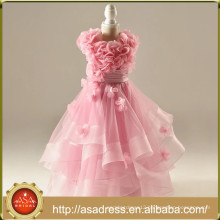 RFGD01 Real Photos Sleeveless Romantic Pink Flower Girl Dress with Hand Made Tiered Ruffle Dresses for Girls