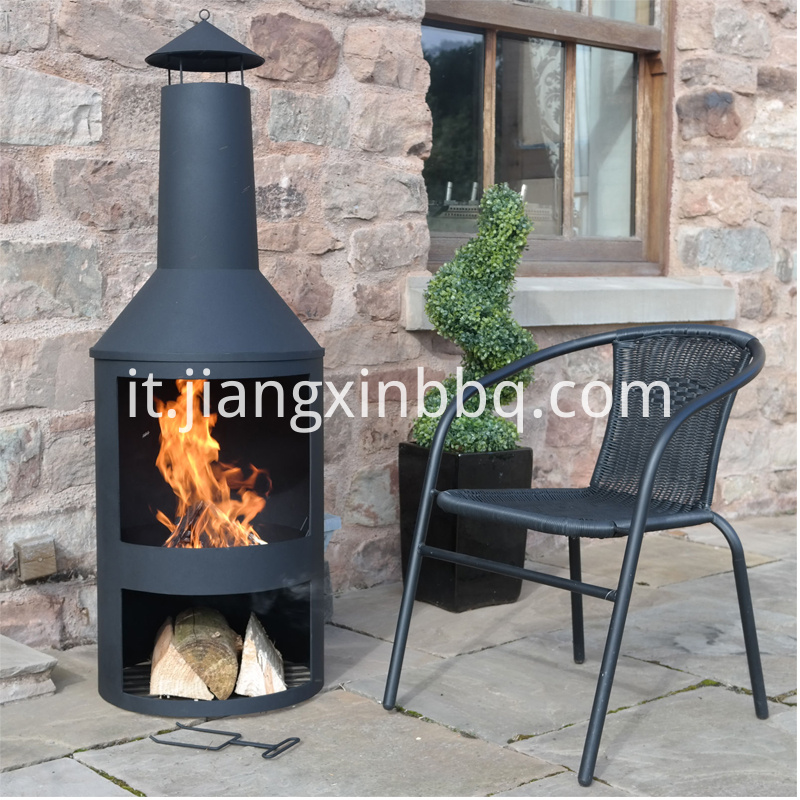Large Outdoor Garden Chimenea Black Fire Pit