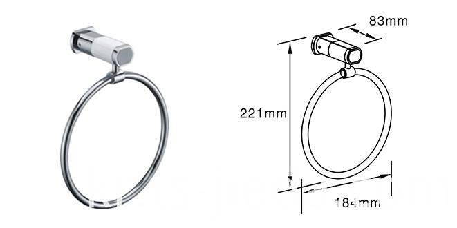 Wall-mounted metal towel ring for bathroom