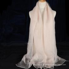 2016 moda lenço de seda de dupla camada com lã