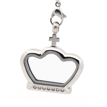 Crystal Crown shaped 316l stainless steel Jewelry floating glass pendant, special shape locket pendant