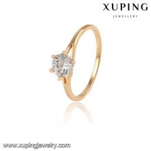 13934 Xuping diseño simple chapado en oro anillos de dedo