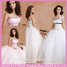 HQ2003 White beaded top sash ball gown ruched tulle lace up back cheap bolero jacket with embroidered quinceanera dresses