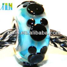 handmade charme preto padrão de mickey jóias europeias beads